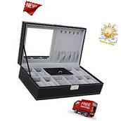 Black Leather Jewelry Box 8 Watch Organizer Storage Case