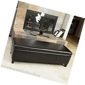 Black Leather Storage Ottoman Bench