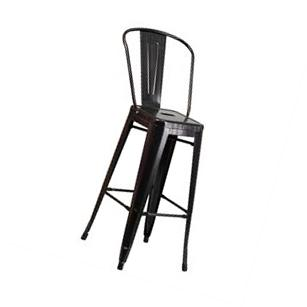 Flash 30in High Black Metal Indoor-Outdoor Barstool, Vertical Slat Back NEW