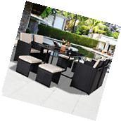 9 PCS Black Patio Garden Rattan Wicker Sofa Set Furniture