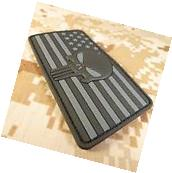 BLACK Punisher American Flag Tactical PVC Rubber Velcro