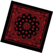 "Black & Red Trainmen Paisley 100% Cotton Biker Bandana 27"" x"