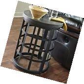 Black Round End Table Metal Wood Top Sturdy Side Industrial