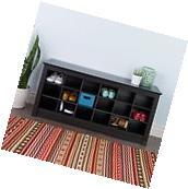 Black Shoe Storage Cubbie Bench