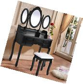 Black Tri Folding Oval Mirror Wood Vanity Makeup Table Set W