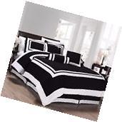 Chezmoi Collection 7pc Black White Block Hotel Style