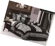 Chezmoi Collection 8-Piece Black and White Micro Fur Zebra