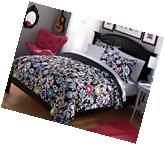 Black White Pink Purple Blue Floral 7 Piece Comforter