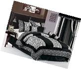 8-Piece Black White Zebra Giraffe Micro Fur Patchwork