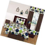 Blue Brown Dot Kids Full Queen Size Bed Bedding Comforter