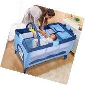 New Blue Baby Crib Playpen Playard Pack Travel Infant