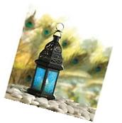 Blue Glass Moroccan Lantern Candle Holder Metal Hanging