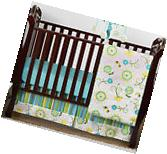 Sweet Jojo Designs Blue Green Floral Bumperless Baby Girls