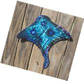 Blue Manta Ray Stingray wall decor Modern Abstract Marine