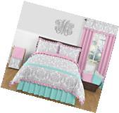 Sweet Jojo Designs Blue Pink  Grey Damask Girl Kid Teen Full