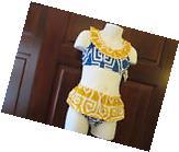 Blue and Yellow Bikini Swim Suit by Mud Pie, Size 12-18
