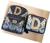 """Justice Girls Blueberry Bandana Initial """"D"""" ~Backpack &"""
