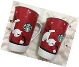 STARBUCKS New Bone China 2011 16oz Tall Red Coffee Mug 2 Cup