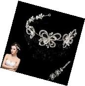 Bride Wedding Party Hairband Crystal Flower Hair Band Clip