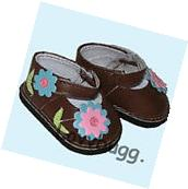 "Brown Flowery Mary Janes Shoes for 18"" American Girl Doll"