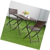 3 PC Brown Outdoor Folding Table Chair Furniture Set Rattan