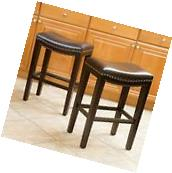Brown Leather Backless Counter Stools w/ Nailhead Accent