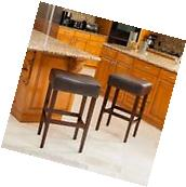 Set of 2 Brown Leather Counter Stools