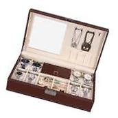 NEW Brown Leather Mens Unisex Jewelry Box 8 Watch Organizer