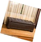 Brown Leather Storage Ottoman w/ Tufted Accent Top