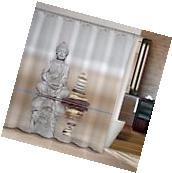 Buddha & Stone Bathroom Fabric Shower Curtain Free Hooks New