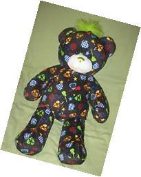 Build a Bear Rock Roll Black Bear Green Mohawk Plush Mp3