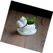 Bulldog Dog White Ceramic Plant Flower Pots Home Office
