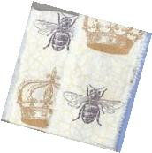 BUMBLE BEE CROWN hand torn muslin fabric ribbon french