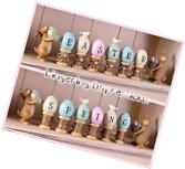 8-Pc Bunny Rabbit & Egg Figurine Set Easter Holiday Spring