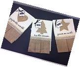 Mud Pie Burlap Linen TOWELS CHRISTMAS SET Of 3 Hand