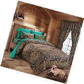 7 PC CAMO COMFORTER AND TEAL SHEET SET KING BED IN BAG