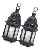 2 PCS Candle Lantern Black Metal Holder Moroccan Glass