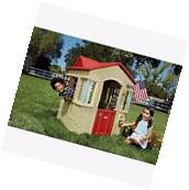 Little Tikes Cape Cottage Playhouse Tan Red house Backyard