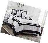 Chezmoi Collection Caprice 7-Piece White Black Hotel Block