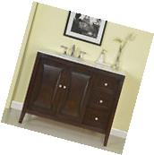 45-inch Carrara Marble Stone Top Bathroom Vanity Single Sink