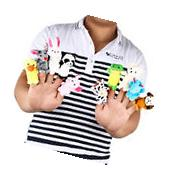 10pcs Cartoon Family Finger Puppets Cloth Doll Baby