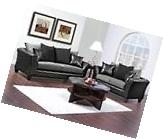 Casual Contemporary Black & Gray Sofa & Love Seat Living
