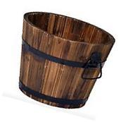 Cedar Wooden Whiskey Barrel Pot Planter Outdoor Garden Lawn