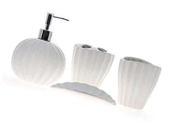 JustNile 4-Piece Ceramic Ocean Bathroom Accessory Set - Blue
