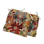 Chair Floral Pad Cushion Seat With Ties Set of 2 Patio
