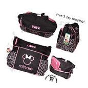 Mickey Mouse Diaper Bag Travel Changing Large Black Pink