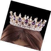 Charm Purple Crystal Rhinestone Full Crown Party Queen
