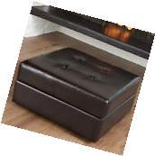 Chatsworth Leather Storage Ottoman -, Brown