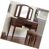 Cherry Wood Tri-Fold Vanity Makeup Mirror Table Set Dresser