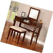 Chic Walnut Vanity Desk Table Mirror Stool Makeup 3 pc Wood